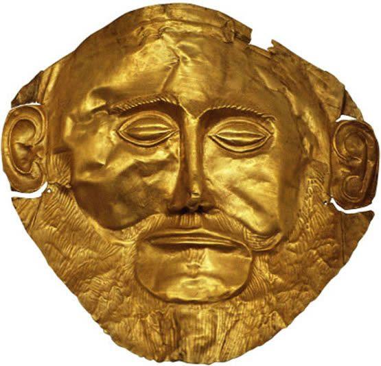 Máscara funeraria de oro hallada en Micenas, conocida como «Máscara de Agamenón».