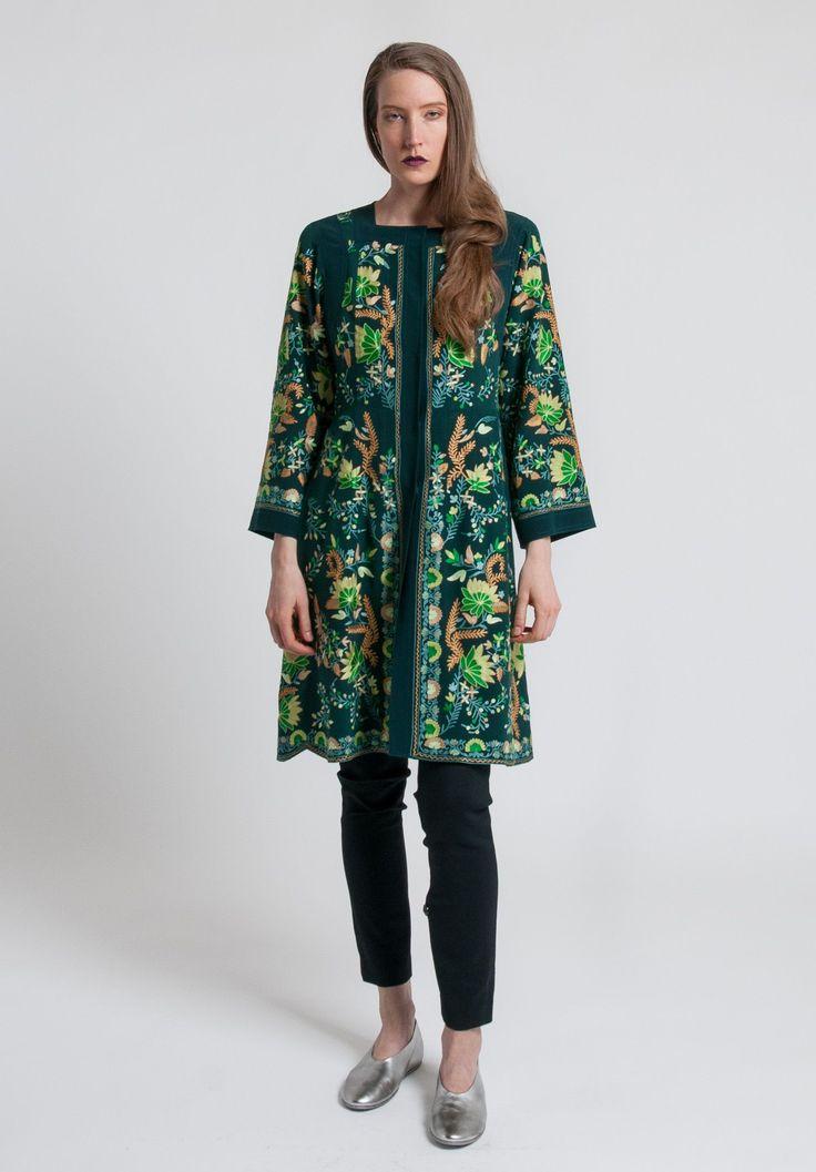 Etro Hand Embroidered Silk Long Jacket in Dark Jade