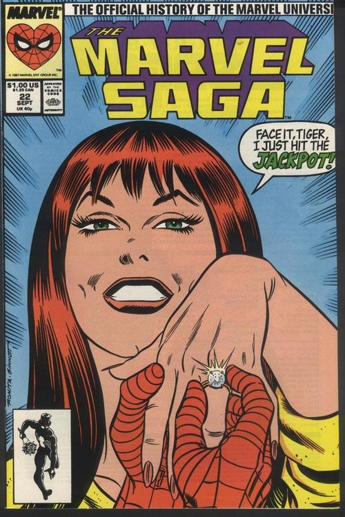 Marvel Saga #22, September 1987, cover by John Romita and Joe Sinnott.