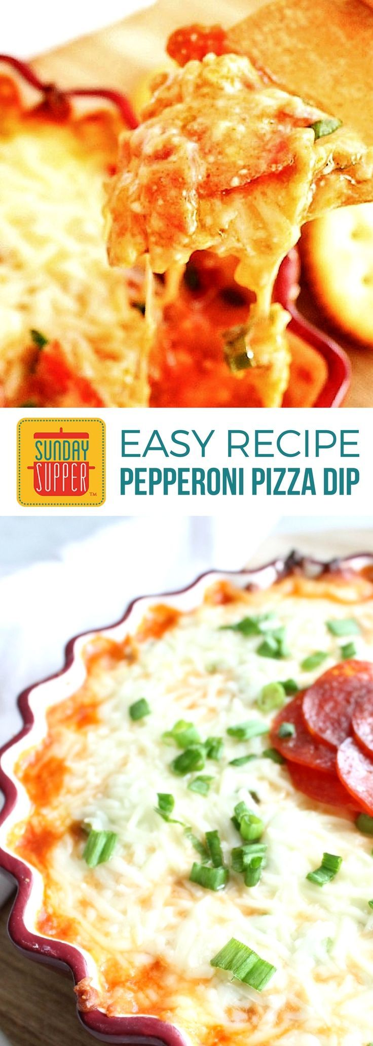 This ooey, gooey Easy Pepperoni Pizza Dip will satisfy any afternoon craving! A family favorite recipe & a top pick for Best After School Snacks! Our Easy Pepperoni Pizza Dip makes a great party appetizer, and is perfect for football food and sleepover food ideas too!
