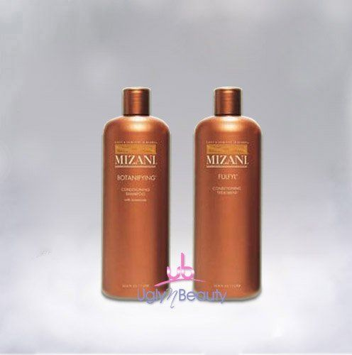 Mizani SET (w/Lip Gloss) Botanifying Conditioning Shampoo 33.8oz + Fulfyl Conditioning Treatment 33.8oz by MIZANI. $33.23. Strengthens and aids in the protection against split ends and breakage. Repairs damaged caused by chemical treatments. Mizani Fulfyl Conditioning Treatment 33.8oz. Mizani Botanifying Conditioning Shampoo 33.8oz. Gentle enough to use everyday, it cleanses the hair and scalp while restoring a natural moisture balance. The aromatic blend of botanicals nou...