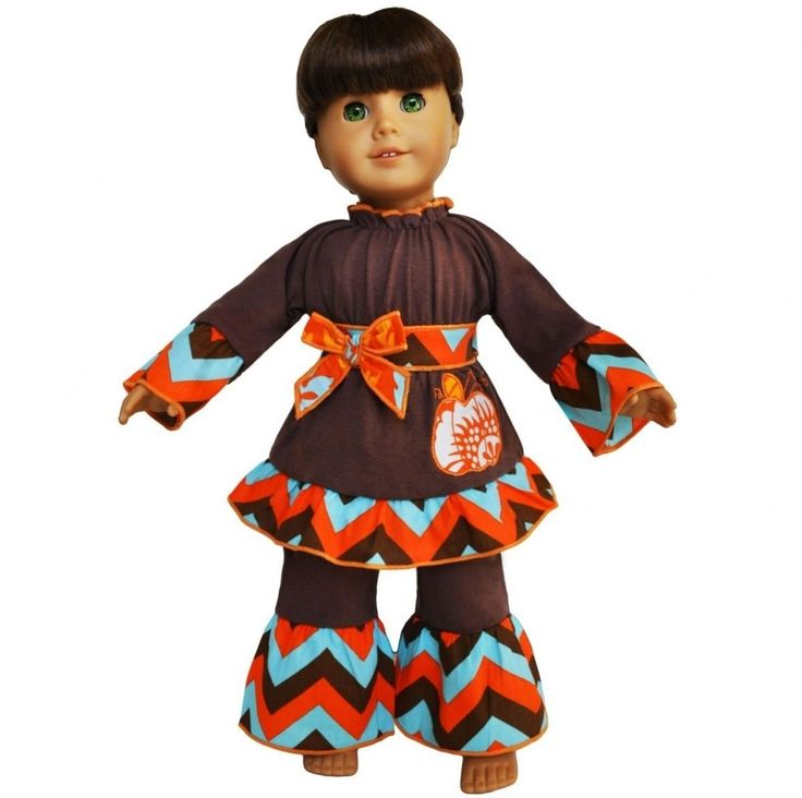 AnnLoren Autumn Chevron Pumpkin outfit fits American Girl Dolls Clothing. Free S | eBay