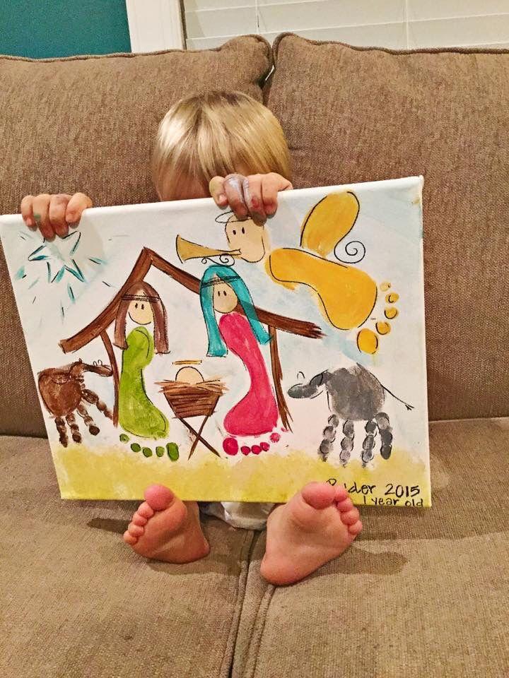 DIY Nativity Art Project #FootprintArt #HandprintArt #Nativity