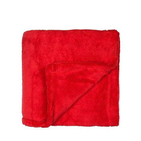 Debenhams Red fleece throw- at Debenhams.com