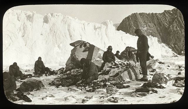 Ernest Shackleton and five companions completed one of history's greatest small-boat journeys when they arrived at South Georgia after an 800-nautical-mile (1,500 km) journey in a lifeboat, 16 May 1916Scene on Elephant Island, after the releasing of the marooned men by Chilean tug Yelcho, 1916 / photographer Frank Hurley.