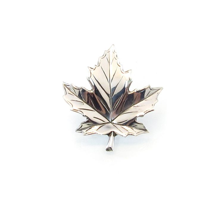 Vintage Birks Sterling Brooch Maple Leaf Detailed