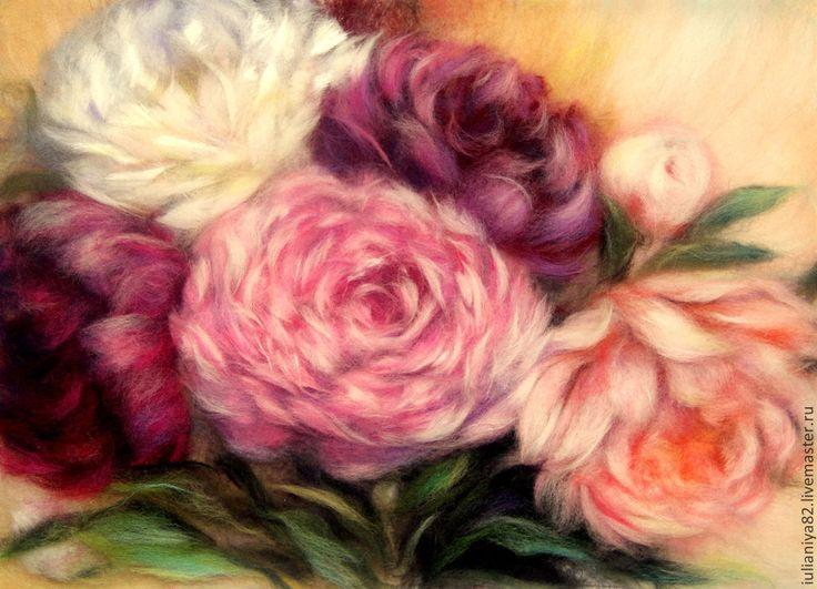 Купить В тёплых лучах. Картина из шерсти. - разноцветный, пионы, картина с пионами, букет цветов