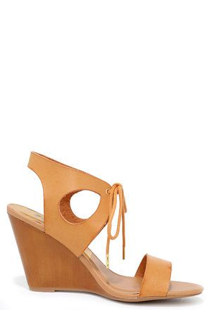Love and Devotion Camel Wedge Sandals at Lulus.com!