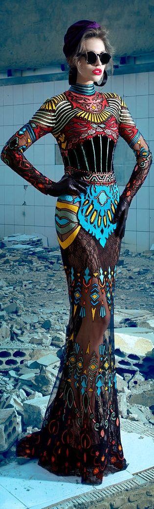 Nicolas Jebran Couture F/W 2013 - idea of full body tattooing                                                                                                                                                                                 More