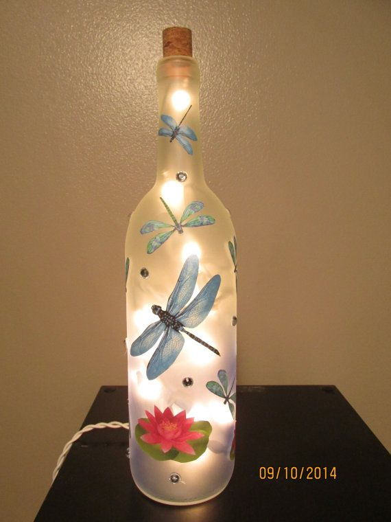 Dragon Fly Wine Bottle Night Light