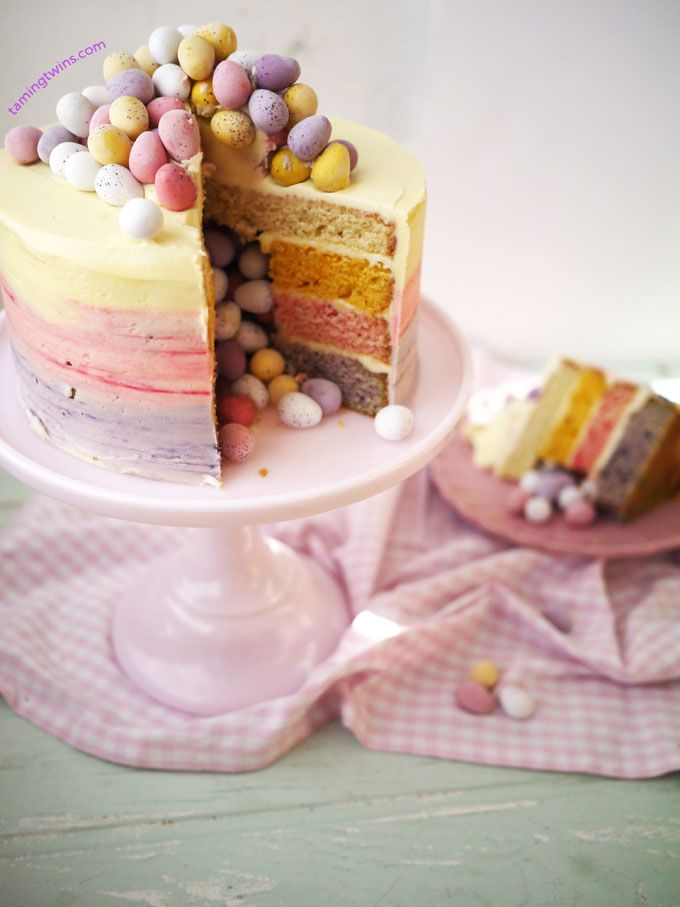 Taming Twins | A lifestyle blog about cake and twins | Easter Ombré Pinata Cake | http://www.tamingtwins.com