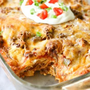 Taco Lasagna Recipe - The Girl Who Ate Everything & ZipList. Mmmm! I bet I could make this veg :-D Yum!