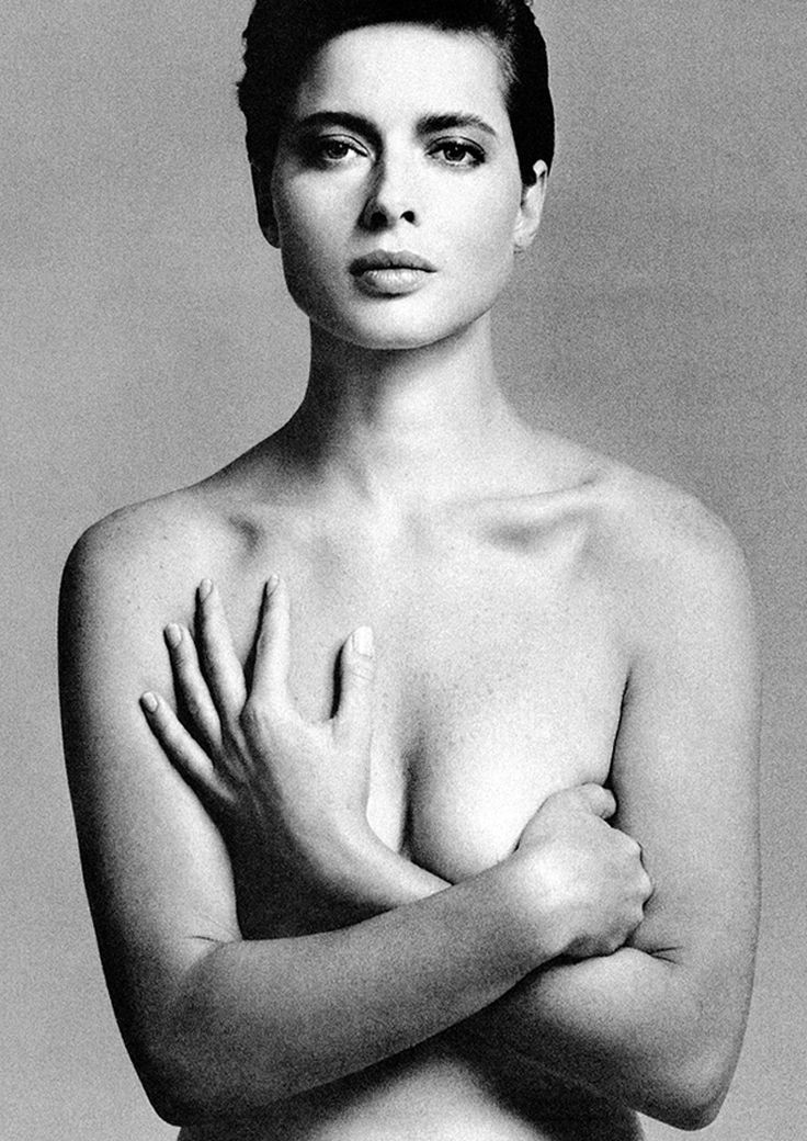 Isabella Rossellini. Performance and close obsevation. Even though the model is nude in the image, the almost challenging facial expression and the position of the head and eye line looking down on the camera takes away the idea of vulnerability. There is some soft shadows on the left side, meaning the light would have been positioned to the right (or her left).