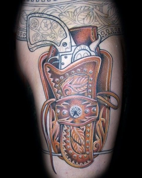 Impressive Cowboy styled revolver tattoo on leg - Tattoos photos