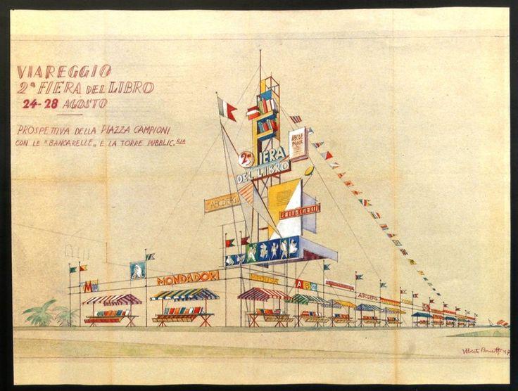 Uberto Bonetti, Manifesto per la Fiera del Libro (il materiale fa parte della Donazione Bonetti conservata presso la Gamc Lorenzo Viani)