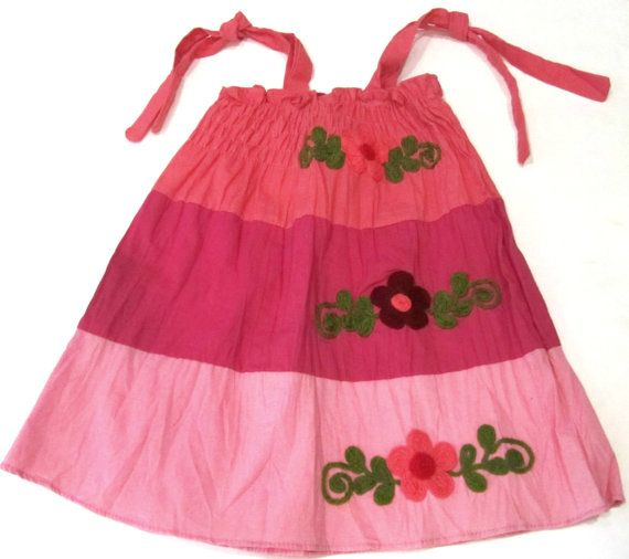 1 to 3 years old cotton dress-Girls cotton dress or skirt-Small size-Handmade-Floral dress-Embroidered flowers-Girls clothing-Kids clothing