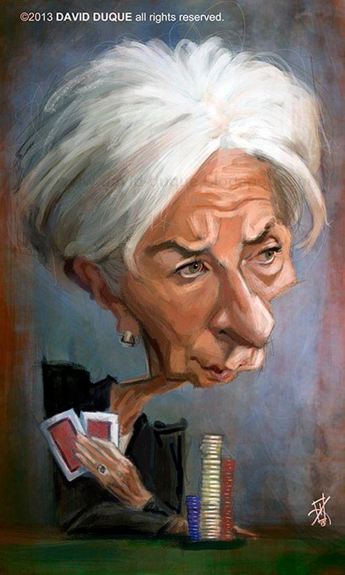 Caricatura de Christine Lagarde.