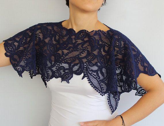 Ultramarine Lace Shrug Shoulder Wrap Lightweight. by mammamiaeme, $33.00