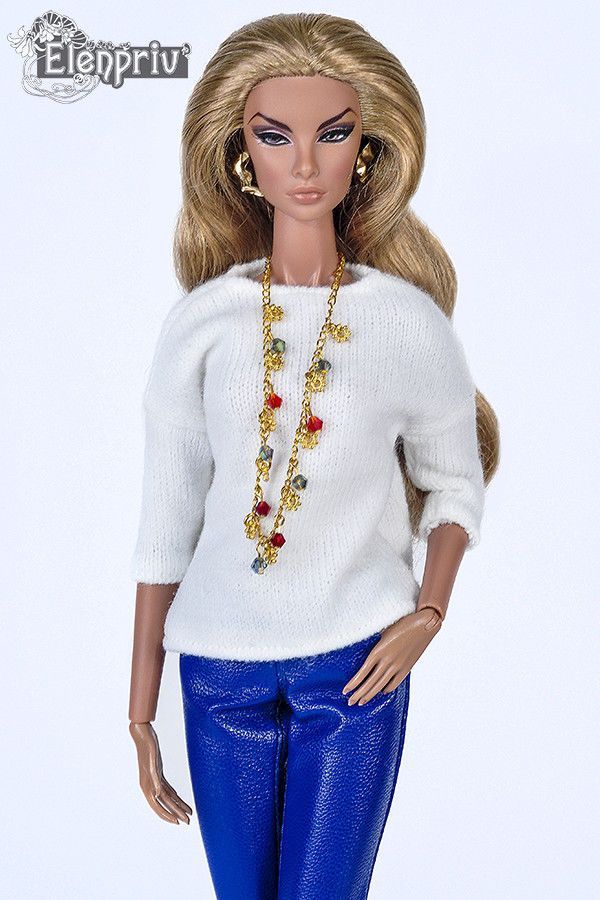 ELENPRIV white jersey pullover for Fashion Royalty FR2 and similar size dolls #Elenpriv