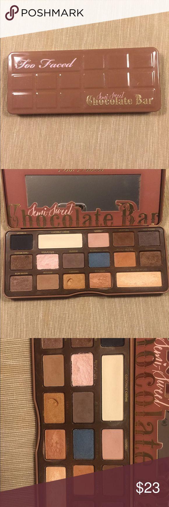 Too Faced Semi-Sweet Chocolate eyeshadow palette Too Faced semi-sweet chocolate eyeshadow palette, gently used, great condition Too Faced Makeup Eyeshadow