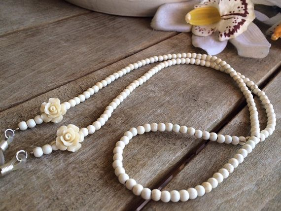 ivory eyeglasses chain,eyeglass lanyard,eyeglass necklace,eyeglasses cord, eyeglass chain,eyeglass holder by LunaDeCoco