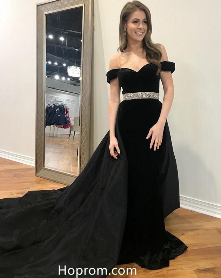 2cde8bbe8f7ce Off Shoulder Bead Waist Black Prom Dresses Evening Dresses | Dress ...