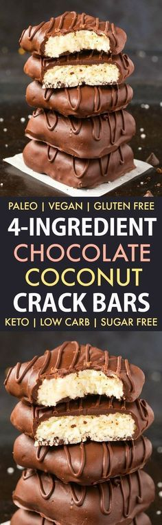 4-Ingredient No Bake Chocolate Coconut Crack Bars (Paleo, Vegan, Keto, Sugar Free, Gluten Free)- Easy, healthy and seriously addictive chocolate coconut candy bars using just 4 ingredients and needing 5 minutes! The Perfect snack or dessert to satisfy the