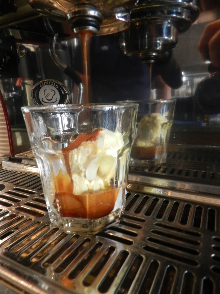 """An affogato (Italian, """"drowned"""") is a coffee-based beverage. It usually takes the form of a scoop of vanilla gelato or ice cream topped with a shot of hot   espresso.     Here with a heavenly scoop of Milanese Vanilla ice cream by Gelato Fresco. At Himalayan Java. Toronto"""