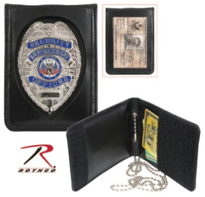New Deluxe Bi Fold Leather Police Detective Badge ID Holder w Neck Chain | eBay