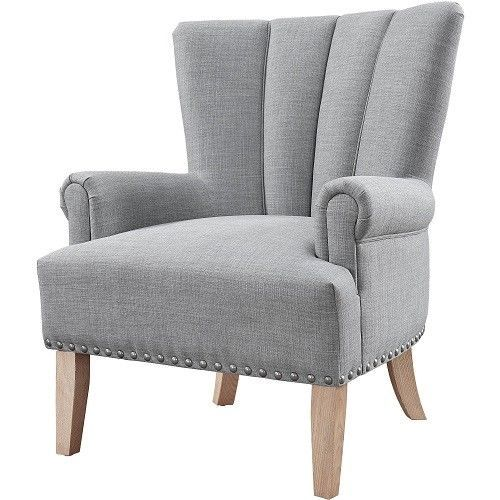 Accent Arm Chair Wood Fabric Upholstery Furniture Single Sofa Living Room Gray #AccentArmChair