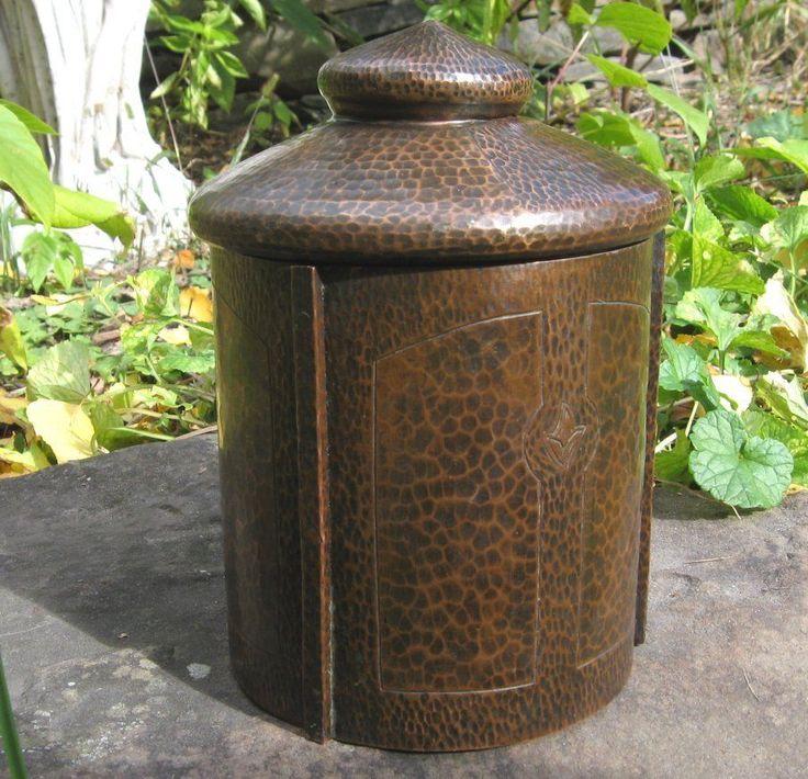 antique Hammered Copper Arts & Crafts Humidor Karl Kipp Tobacco Jar Roycroft