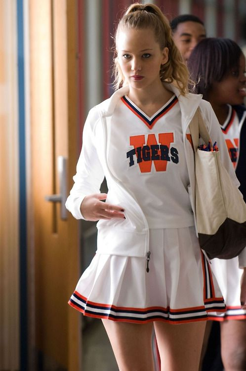 Jennifer as a cheerleader to one of her movie...