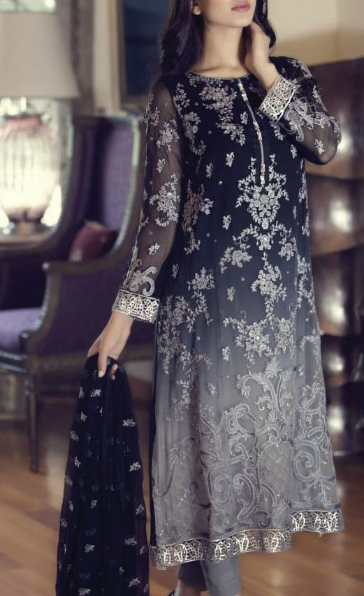 Buy Black Embroidered Chinese Chiffon Dress by Maria B. Chiffon Eid Collection.