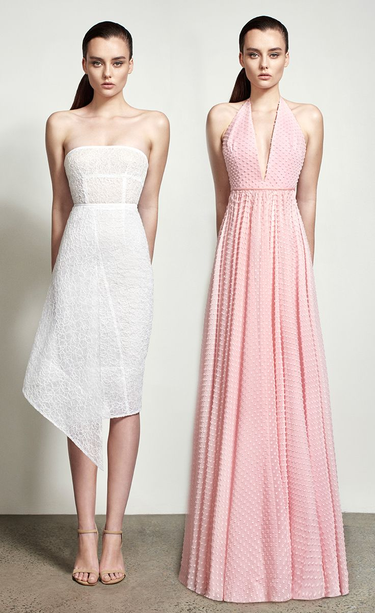 Alex Perry Spring Summer 2016 - Katherin Strapless Lace Pencil Dress and Suzanne Bow Racer Gown