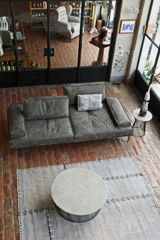 Italian sofa - GOBBO SALOTTI - Nabuk gray Mod. ALAN