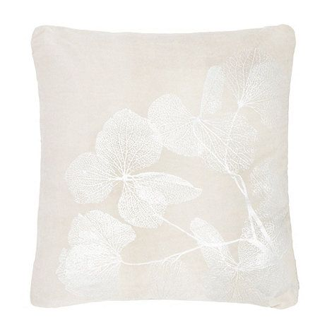 RJR.John Rocha Grey metallic leaf print cushion | Debenhams