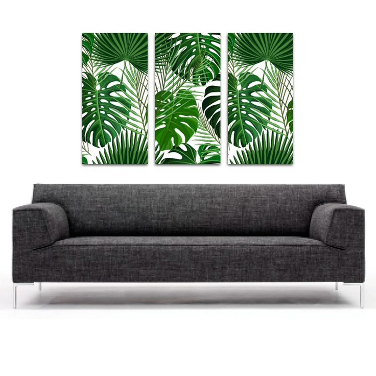 Drieluik canvas Palmbladeren patroon 2 | Dit is een bijzonder kunststukje voor aan de muur. De foto op de drieluik canvas is op 3 afzonderlijke houten canvasframes opgespannen. Een ideale manier om jouw interieur net even die style mee te geven waar je zo naar zoekt. #drieluik #canvas #canvasdoek #canvasprint #3-luik #bladeren #jungle #tropisch #patroon #interieur #print #foto #natuur #natuurlijk #bos #groen