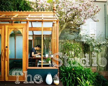 Studio Solution: A Kit Greenhouse Becomes a Creative Private Office   contemporary garage and shed Garden Studio