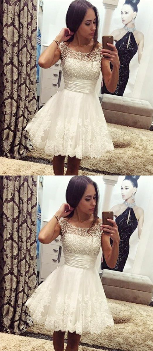 chic white a-line short prom party gowns, fashion fall homecoming party dresses with pearls, semi formal dresses.