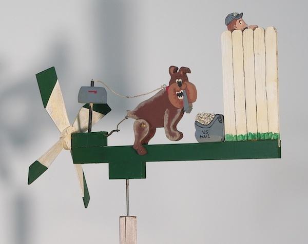 Whirligig Weathervane Dog and Postman Folk Art