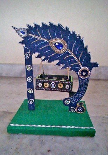 Janmashtami Decoration Ideas - Peacock Theme Krishna Jhula Making