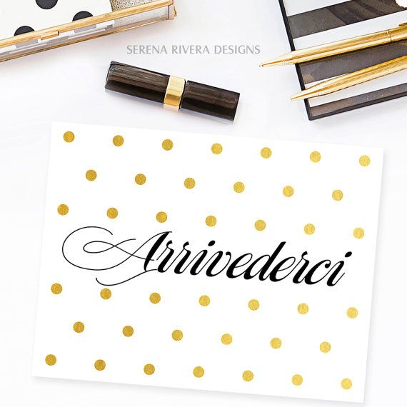 Arrivederci, Moving Cards, Calligraphy Cards, Moving Away Gift, Goodbye Gift, Gifts For Travelers, Gold Foil, Various Colors, DIGITAL FILE
