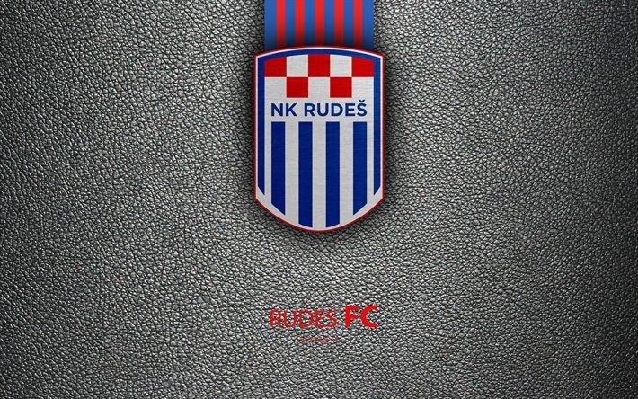Download wallpapers NK Rudes, 4k, emblem, HNL, Zagreb, Croatia, logo, football, Rudes FC, leather texture, Croatian football club, Croatian Football Championship, T-Com Prva HNL