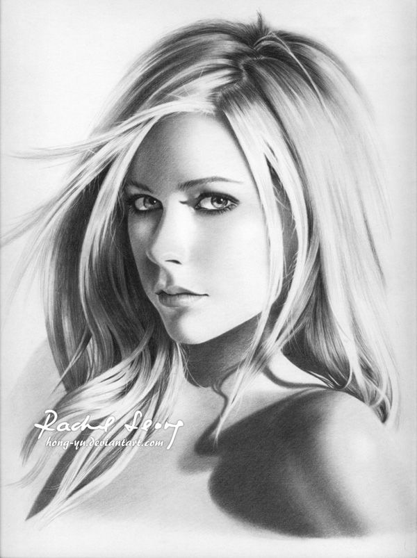 Avril lavigne 15 by hong yu pencil drawings by leong hong yu