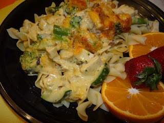 Chicken and Broccoli Divan over Noodles. Yummy, quick and easy!