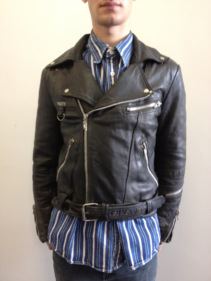 Men's vintage leather biker jacket. Click to buy!