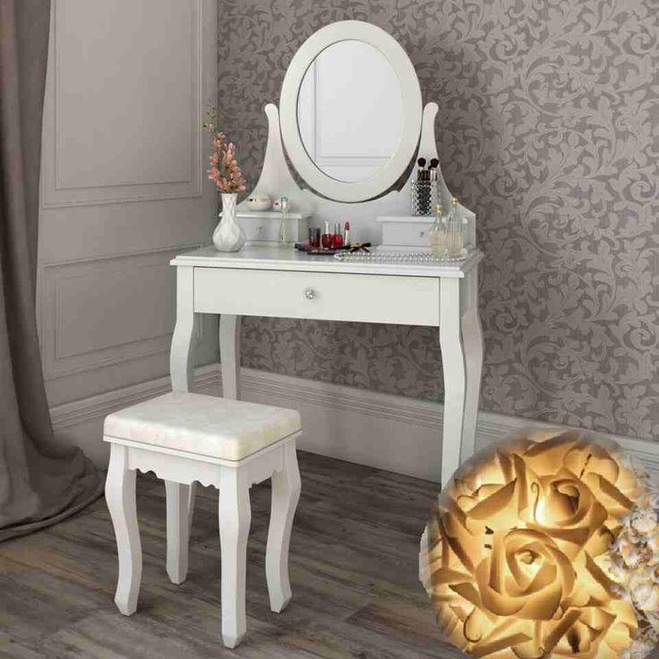 SEA308 - http://www.emobili.ro/cumpara/sea308-set-masa-alba-toaleta-cosmetica-machiaj-oglinda-masuta-vanity-298 #eMobili