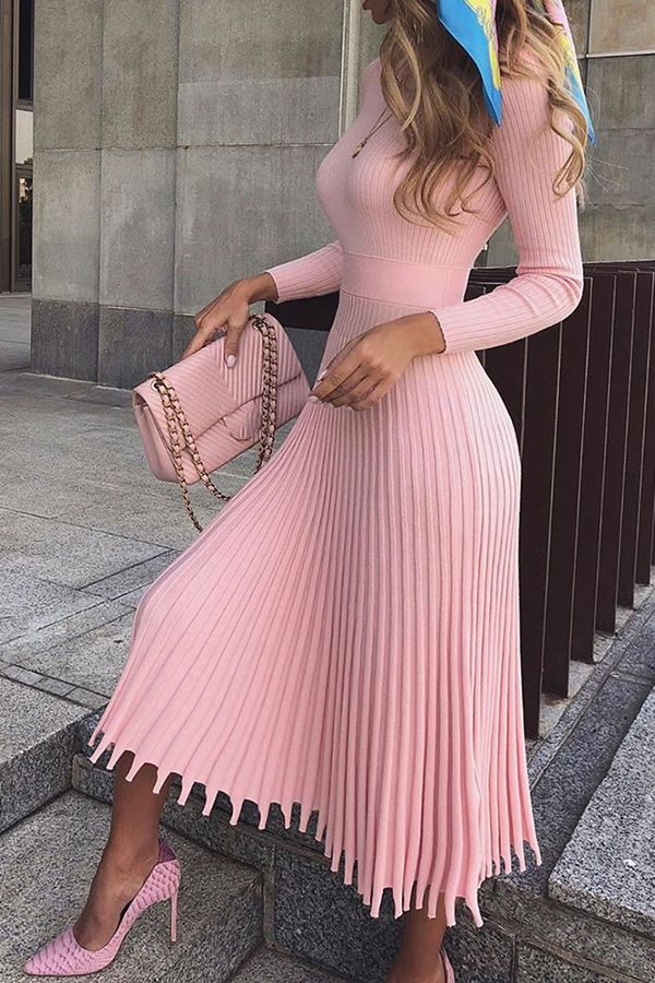Mid-Calf Pleated Nine Points Sleeve Pullover Women's Maxi Dress