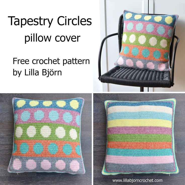Crochet pillow cover with colorful circles made in tapestry crochet. Free pattern by Lilla Bjorn )with step-by-step pictures)