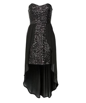 Black Sequin Bandeau Dip Hem Dress